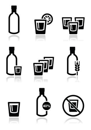 kelet európa: Vodka, erős alkohol ikonok meg Illusztráció