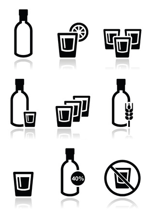 distilled alcohol: Vodka, strong alcohol icons set