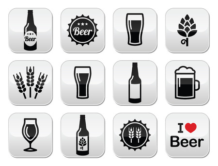 barley hop: Beer icons set - bottle, glass, pint