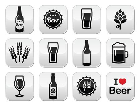malto d orzo: Icone di birra set - bottiglia, di vetro, pinta Vettoriali