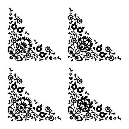 Corner border Polish floral folk embroidery pattern - wzory lowickie  Vector