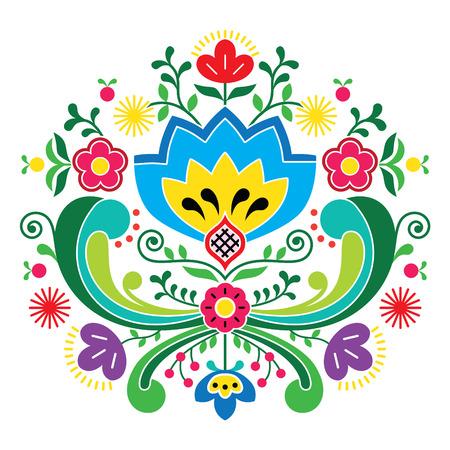 Norwegian folk art Bunad pattern - Rosemaling style embroidery   Vector