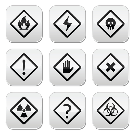 Danger, risk, warning buttons set Vector