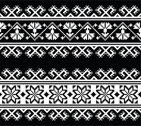 Ukrainian, Slavic seamless folk embroidery pattern on black