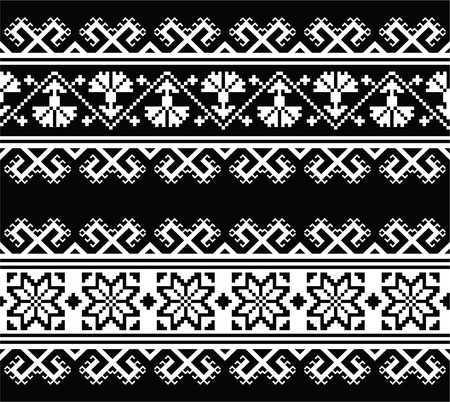 ukraine folk: Ukrainian, Slavic seamless folk embroidery pattern on black