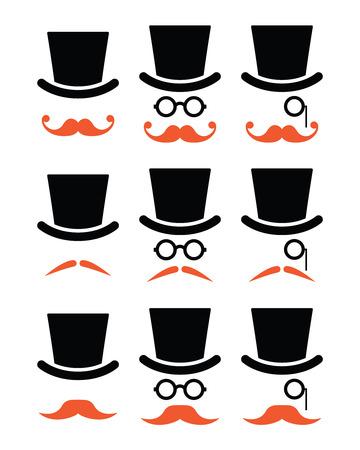 Ginger mustache or moustache with hat and glasses icons set    Vector