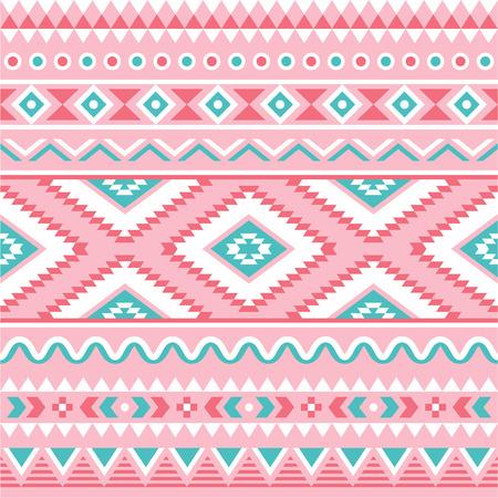 部族のシームレスなパターン、アステカのピンクと緑の背景  イラスト・ベクター素材