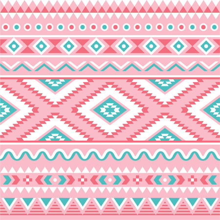 Tribal seamless pattern, Aztec pink and green background  Vector