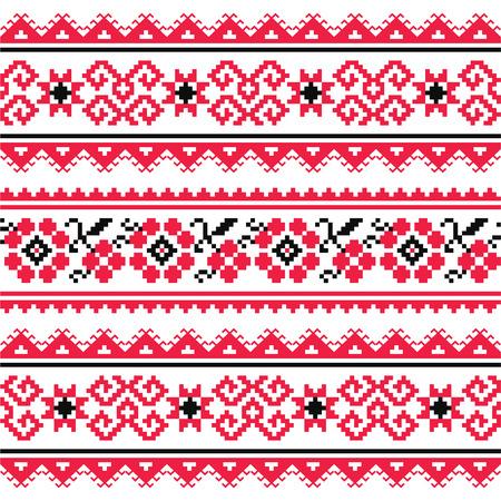 punto cruz: Modelo del bordado del arte popular ucraniano o de impresión