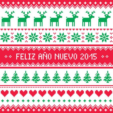 Feliz Ano Nuevo 2015 - Happy New Year in Spanish pattern    Vector