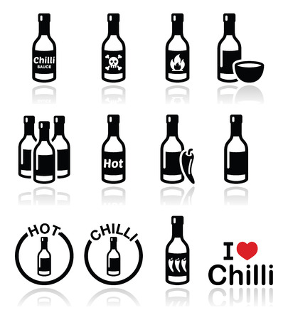 Hot chilli sauce bottle icons set  Vector