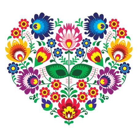 Olk polaco del arte del arte del bordado corazón con flores - Lowickie wzory Ilustración de vector