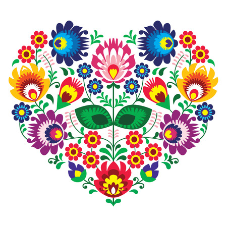 Polish olk art art heart embroidery with flowers - wzory lowickie Vector