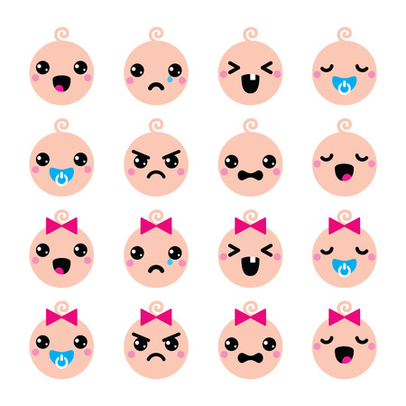 crying baby:  Baby boy and girl cute Kawaii icons set  Illustration