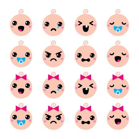 baby cry:  Baby boy and girl cute Kawaii icons set  Illustration