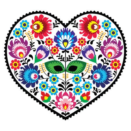 Arte popular polaco bordado de corazón de arte con flores - wzory lowickie Ilustración de vector