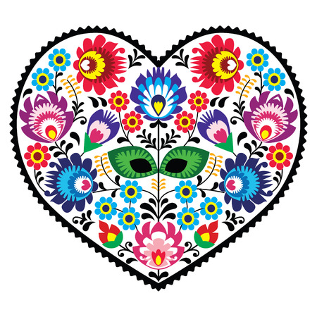 Polish folk art art heart embroidery with flowers - wzory lowickie Vector
