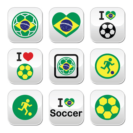 Brazilian flag, football or soccer ball buttons set Vector