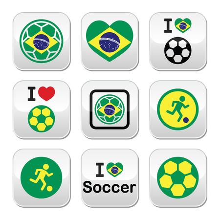 offside: Brazilian flag, football or soccer ball buttons set