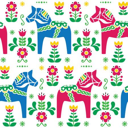 Swedish folk art Dala or Daleclarian horse seamless pattern  Ilustração