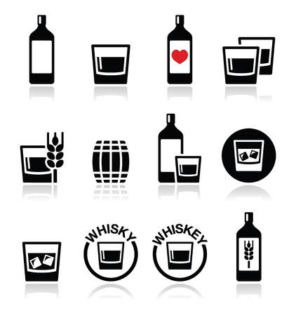 botella de whisky: Whisky o whiskey iconos alcohol establecido