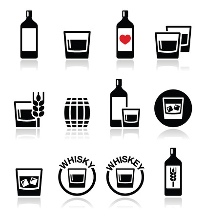 distilled: Whisky or Whiskey alcohol icons set  Illustration