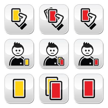 Football or soccer yellow and red card icons set Vector