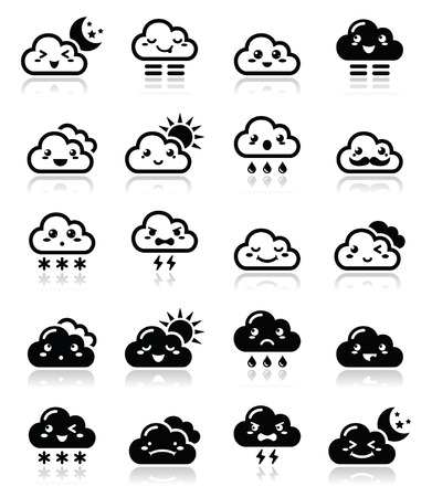 angry sky: Cute cloud - Kawaii, Manga black icons with different expressions - happy, sad, angry  Illustration