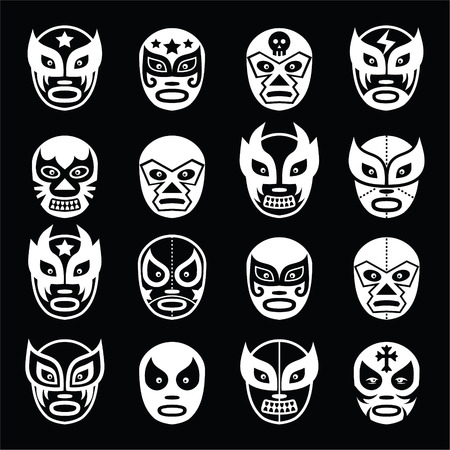 libre: Lucha libre, luchador Mexican wrestling white masks icons on black  Illustration