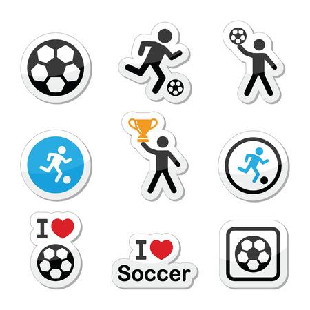 goal cage: I love football or soccer, man kicking ball vector icons set