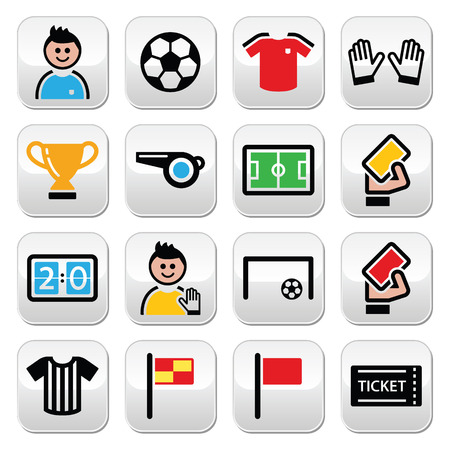Soccer or football colorful vector icons set