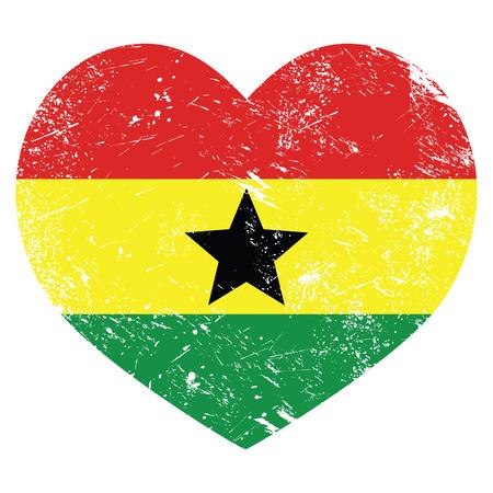 Ghana retro heart shaped flag Vector