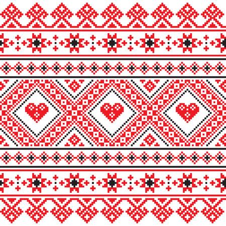 kelet európa: A hagyományos népművészeti kötött piros hímzett mintával Ukrajnából Illusztráció