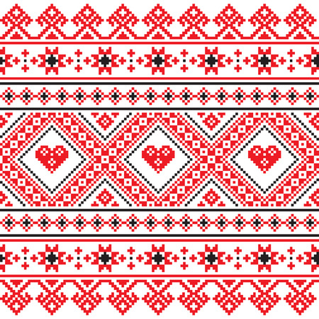 Traditional folk art knitted red embroidery pattern from Ukraine  Illusztráció
