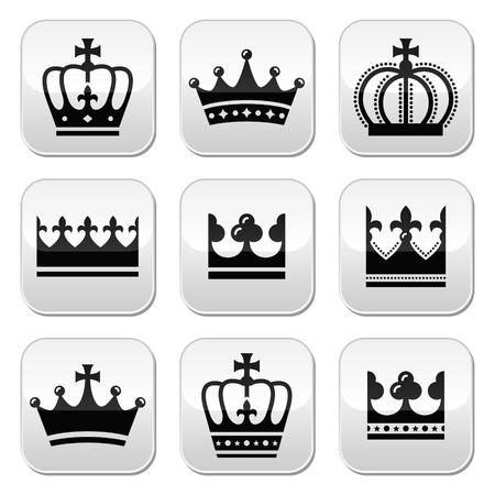 royal family: Crown, royal family icons set  Illustration