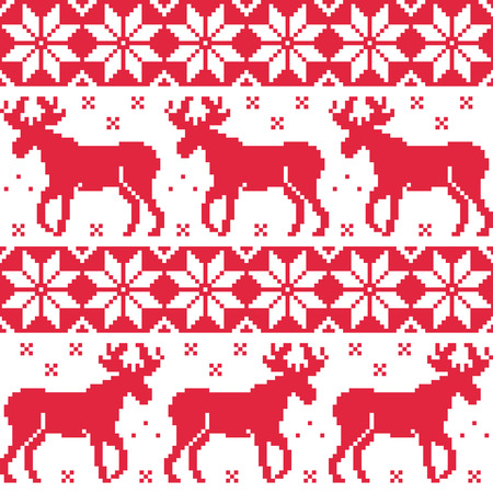 Winter red seamless pattern with reindeer  Vector
