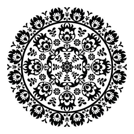 slavic: Polish folk art pattern in circle - wzory lowickie, wycinanki