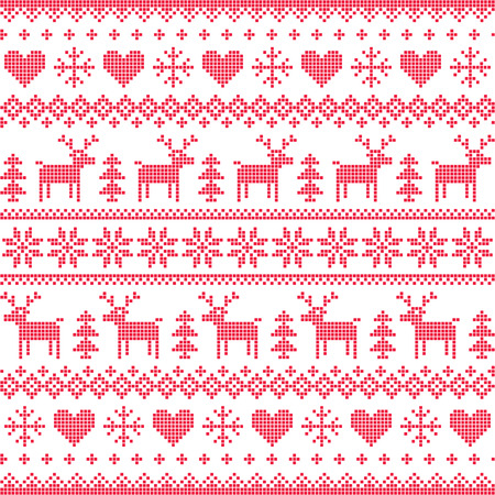 scandinavian christmas: Winter, Christmas red seamless pixelated pattern with deer and hearts Illustration