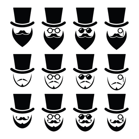 whisker: Man with hat with beard and glasses icons set