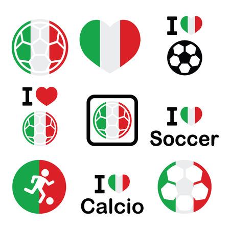 offside: I love Italian football, soccer icons set