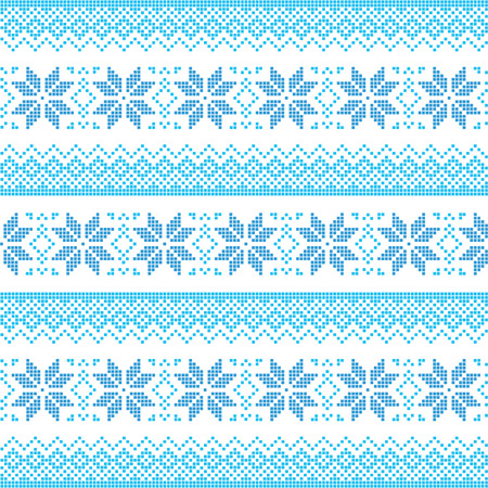 Winter, Christmas blue seamless pixelated pattern with snowflakes Vector