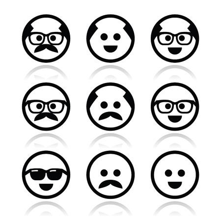 hombre calvo: Hombre calvo con bigote y en las gafas caras iconos conjunto Vectores