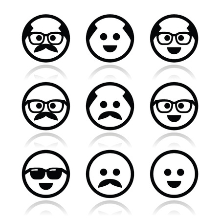 Bald man with mustache and in glasses faces icons set  Illustration