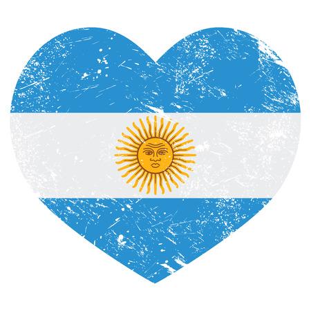 bandera argentina: Bandera en forma de corazón retro Argentina Vectores