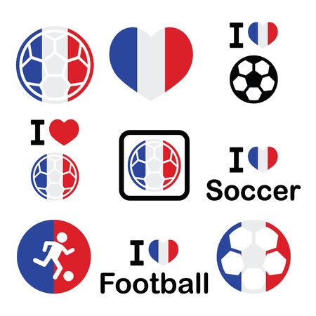 offside: I love French football, soccer icons set Illustration