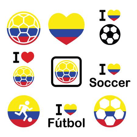 I love Colombian football, soccer icons set Vector