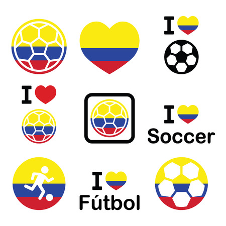 colombian: I love Colombian football, soccer icons set Illustration