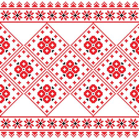 ukraine folk: Ukrainian, Eastern European folk art embroidery pattern or print