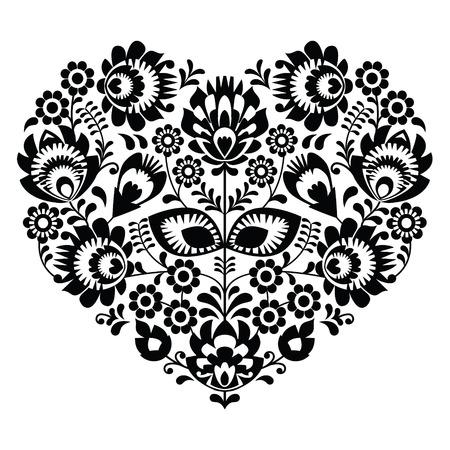 negro: Patrón del corazón del arte popular polaco en negro - Lowickie wzory, wycinanka