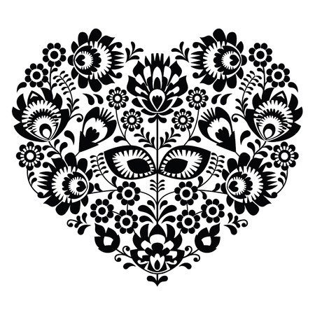 Polish folk art heart pattern in black - wzory lowickie, wycinanka  Vector